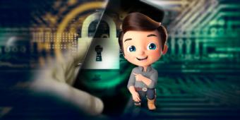 A imagem mostra ao fundo itens relacionados a segurança online, um cadeado é o mascote da Buscar Rural, o Loop